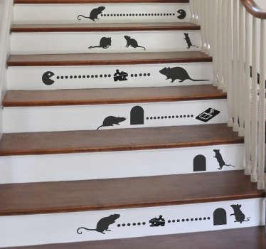 Vinilo para escalera ratones