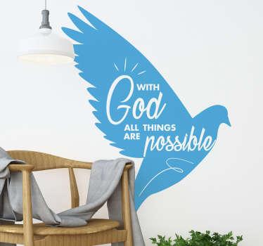 신과 함께 모든 것이 가능합니다이 동기 부여 벽 스티커는 집이나 사무실의 모든 방에서 매일 당신에게 영감을주기에 완벽합니다!