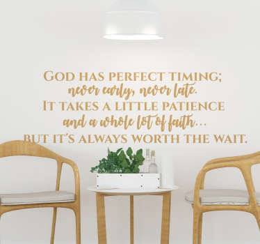 A fantastic religious wall sticker, perfect for any part of your home! Easy to apply.