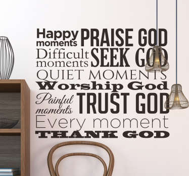 Magnificent text sticker with Catholic expressions of worship to God that will be a super original decoration for your home.