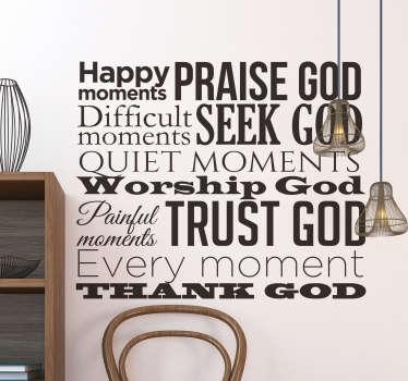 宏伟的文字贴纸,带有对朝拜者的天主教崇拜表情,将成为您房屋的超级原始装饰。
