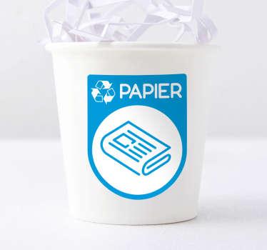 Autocollant Pictogramme Recyclage Papier