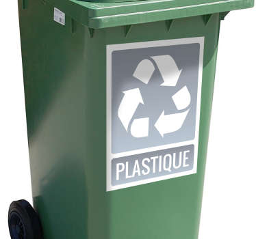 Let everyone know how much you care about the environment with this icon vinyl sticker! Plastic trash can be recycled here.
