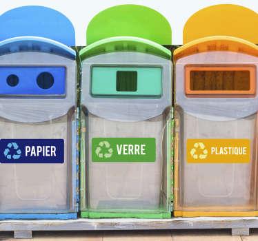 Stickers recyclage papier verre plastique
