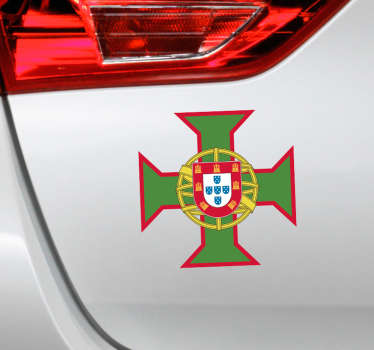 Decorative cross car sticker with the emblem of Portugal. This design is available in any required size ans it is easy to apply.