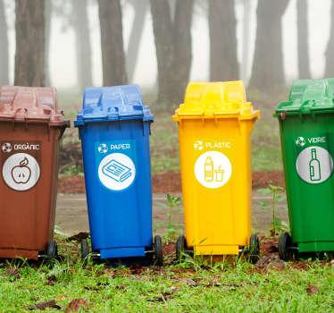 Vinilos para contenedores con cuatro adhesivos en catalán correspondientes a basura orgánica, papel, vidrio y cristal.