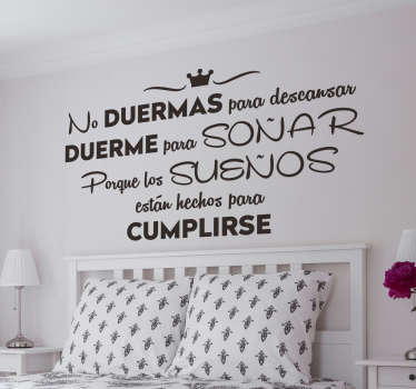 Motivational text wall decal for home decoration. A designed text quote about sleeping.. It is available in different colours and size options.
