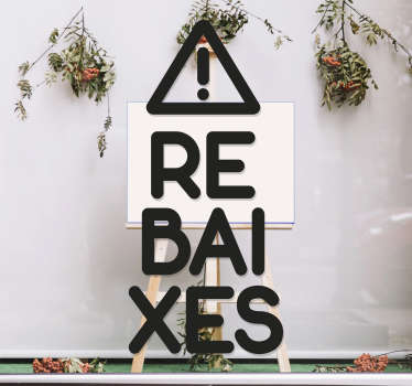 """Vinilos para cristales de tiendas con el texto """"REBAJAS"""" en catalán, ideal para promocionar próximas campañas promocionales y hacer destacar tu negocio"""