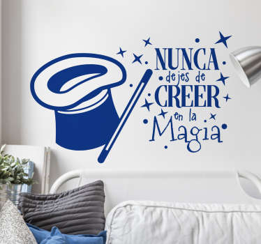 Decorative magic fantasy wall decal with the design is featured with a hat, stars and magic text. Available in different sizes.