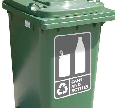 Cans & Bottles Recycling Bin Sticker