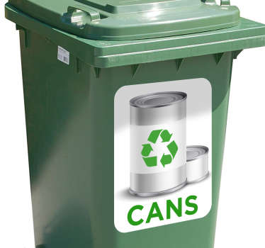 The Recycling Cans Bin Sticker acts as a perfect wheelie bin label. This eco-friendly sticker is often purchased to be used as a wheelie bin label.