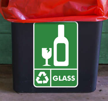 The Recycle Glass Sticker for bins is another one of our eco-friendly stickers that encourage recycling. Our high quality stickers are easy to apply.
