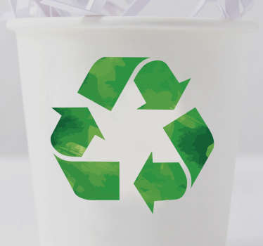 The Recycling Symbol Sticker is the perfect recycle bin sign. It comes in various sizes so can it be used as a small recycling bin sticker.