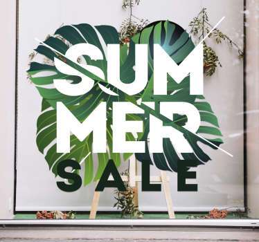 This eye-catching window sticker is great for shops who want to advertise their summer sale. The incredible design to the sale sticker.