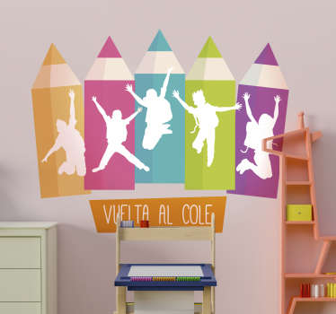 Educational wall sticker with the design of colorful pencils and the print of happy kids back to school. We have it in any required size.