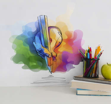 Kunst muursticker hand die tekent