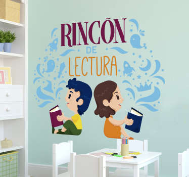 Educational wall sticker for children to decorate reading and study corners in the home. It has the image of kids studding. Easy to apply.