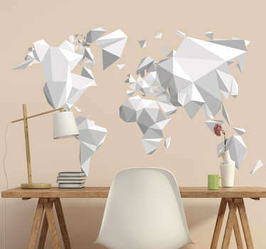 Muursticker wereldkaart origami