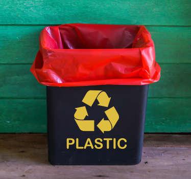 Recycle plastic sticker geel