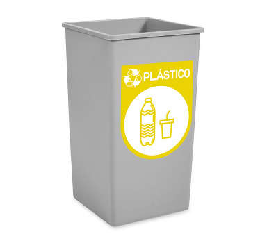 Plastic recycling iconic sticker to place on dustbin containers in the kitchen, garage and on public and street space. Available in any size.