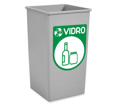 Decorative recycling iconic sticker for dustbin container with the image print of glass and bottles. Available in any size.