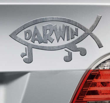 An original fish art decal with text inscription '' Darwin''. It is available in any required size and easy to apply. Adhesive and durable.