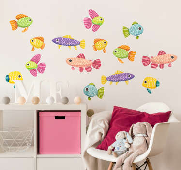 Colorful decorative fish wall art decal for children room decoration. It is available in different sizes and easy to apply.