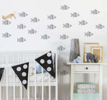 Decorative fish wall art decal for children bedroom decoration. It is featured with multiple prints of fishes.Customisable in any size you would want.