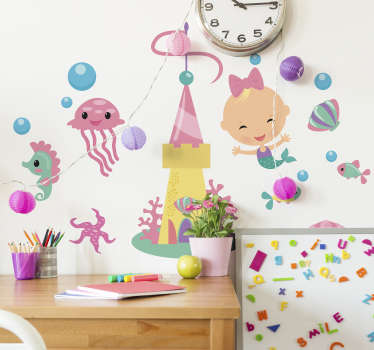 Decorate your children's room with this beautiful set of children's stickers with illustrations of sea animals and a little mermaid.