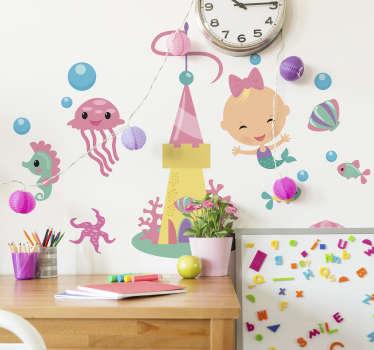 Naklejka na ścianę pokoju dziecięcego z syrenką i morską fauną