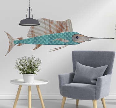 From our collection of animal wall stickers: A multi-coloured design of a swordfish to decorate your home or business. Easy to apply!
