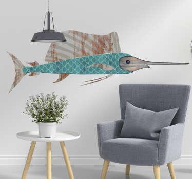 Naklejka na ścianę ryba-miecz,w różnego rodzaju tekstury