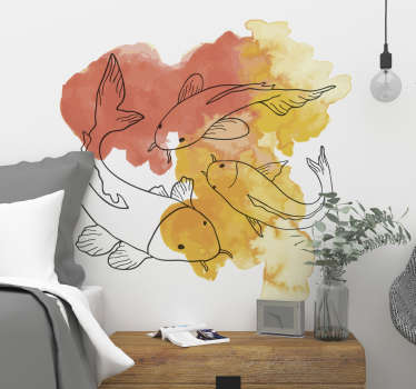 Aufgrund der Farbgegebenheit passt diese Fische Wandklebefolie am idealsten auf eine weiße Wand. Der Aufkleber zeigt drei hübsche Fische.