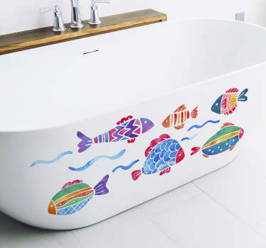 Add some fishes to your bathtub with this fantastic bathroom decal! Easy to apply.