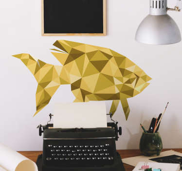 Sticker mural représentant un poisson aux multiples facettes dorées Vous pourrez choisir les dimensions de votre adhésif.