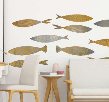 Muursticker gouden en zilveren vissen