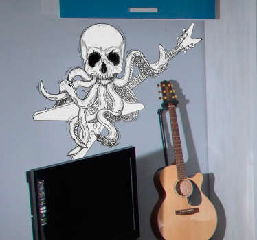 Guitar Stickers and Rock Stickers - This original design shows an octopus with a skull face playing on the electric guitar. The skull sticker is a must for real rock and heavy metal fans.