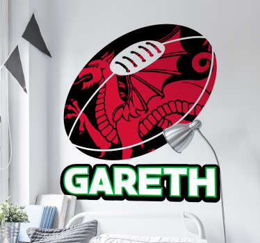 Rugby Wall Stickers - This personalised name wall sticker is perfect for your child´s bedroom if they support the Wales National Rugby Union Team.