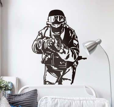 Swat Team Wall Sticker - Illustrative wall art sticker that shows a member of a SWAT team member holding a gun and ready to put it all on the line.