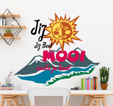 An adhesive vinyl decal with mountain features, sunshine and an adventure inspired text. It is available in any size required.