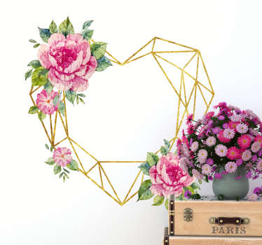 Naklejka na ścianę geometryczne serce z różowymi kwiatkami