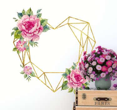3D sticker hart en bloemen