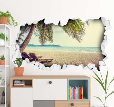 Naklejka na ścianę 3D dziura w ścianie z widokiem na plażę