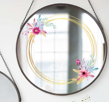 Vinilo espejo marco floral