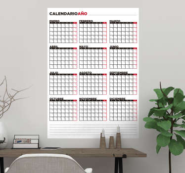 Vinilo pizarra vileda calendario