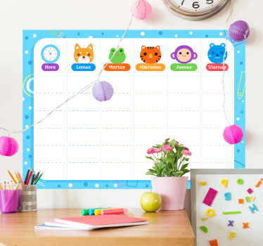 Children's whiteboard stickers to write on with a marker, ideal to start planning their school tasks, excursions! Zero residue upon removal.