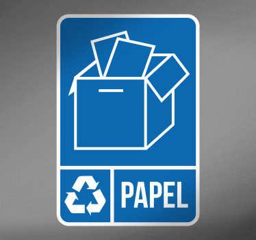 골판지와 종이의 재활용을 위해 특별히 고안된 쓰레기통을 아이콘으로 표시 한 재활용 스티커!