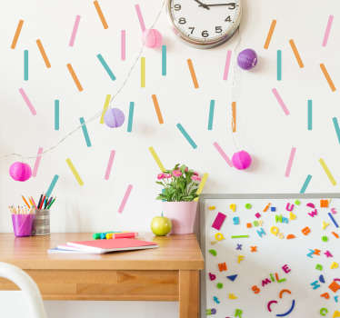 Color autocolant de perete cu geometrie confetti