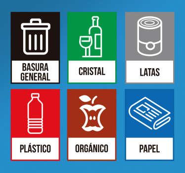 Lámina de adhesivos de reciclaje con iconos correspondientes a basura general, cristal, latas, plástico, deshechos orgánicos y papel.