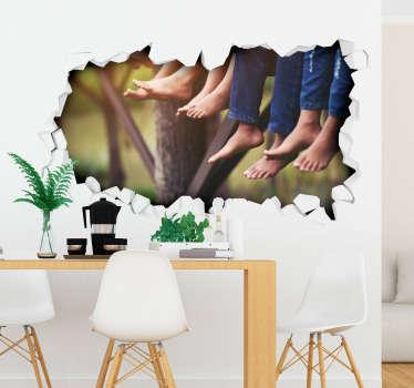 Naklejka na ścianę 3D dziura w ścianie z widokiem na bose nogi